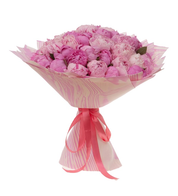 Букет-дуэт Розовые пионы (15,25,35,51,75,101 или 151) – фото № 4