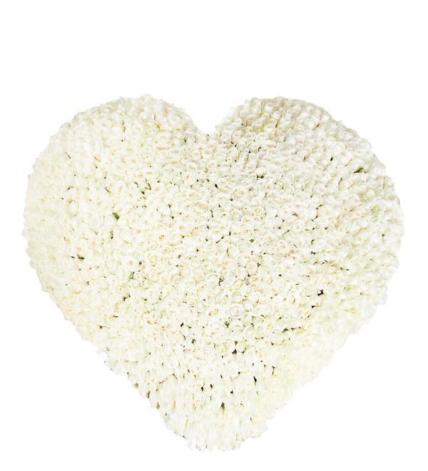 Композиция из 1001 белой розы Сердце Ангела AR691 SAN – фото № 1