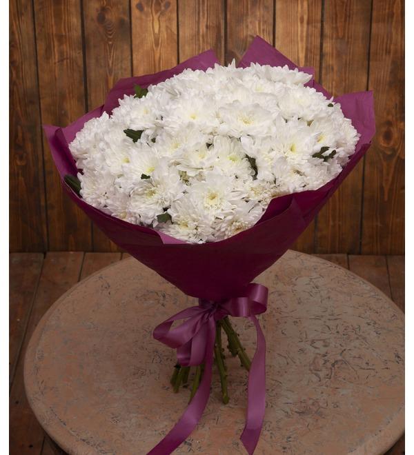 Букет-соло белых хризантем (9,15,25,35,51,75 или 101) – фото № 1