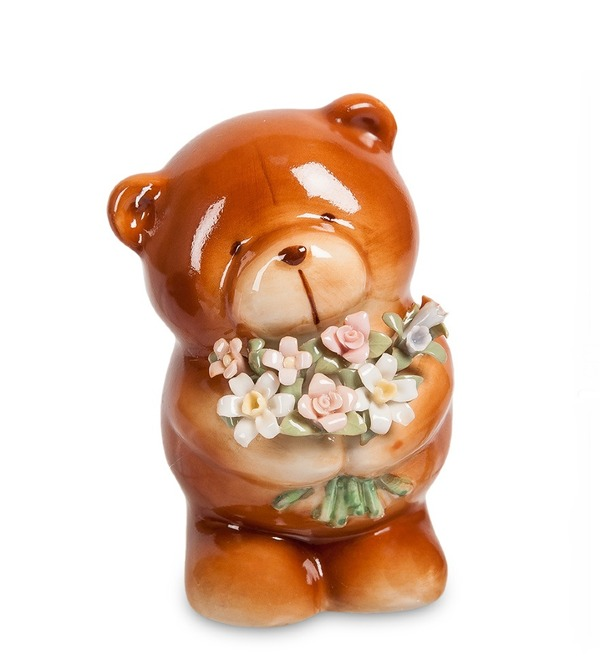 Figurine Bear with a bouquet (Pavone) – photo #1