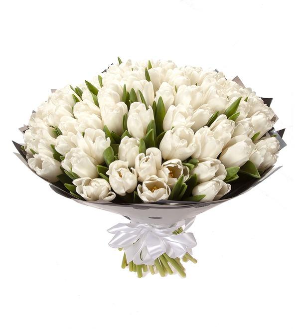 Букет-соло Белые тюльпаны (15,25,35,51,75,101 или 151) – фото № 5