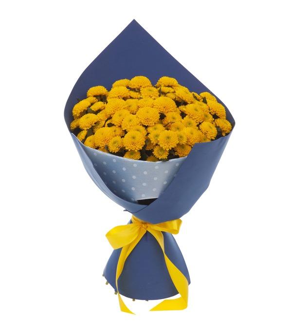 Букет-соло жёлтых хризантем (15,25,35,51,75 или 101) – фото № 5