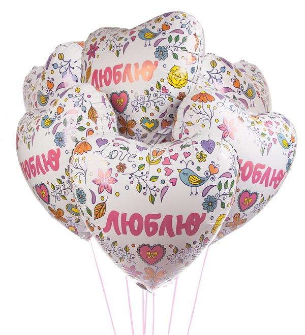 Букет шаров Люблю (7 или 15 шаров) – фото № 1