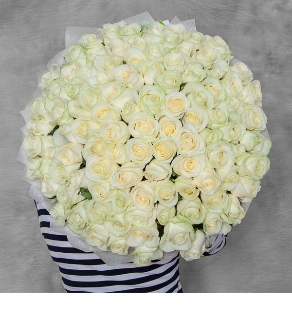 Букет из 101 белой розы Счастье – фото № 1
