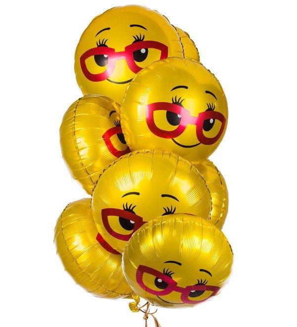 Букет шаров Смайл в очках (7 или 15 шаров) – фото № 1