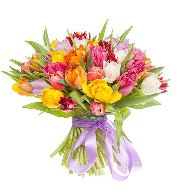 Букет из разноцветных пионовидных тюльпанов (25, 51 или 101) – фото № 4