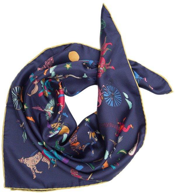 Шелковый платок Salvatore Ferragamo Цирк (Италия, 65х65 см) – фото № 3
