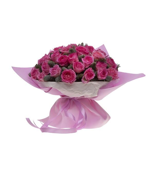 Букет-соло розовых роз (15,25,35,51,75 или 101) – фото № 3