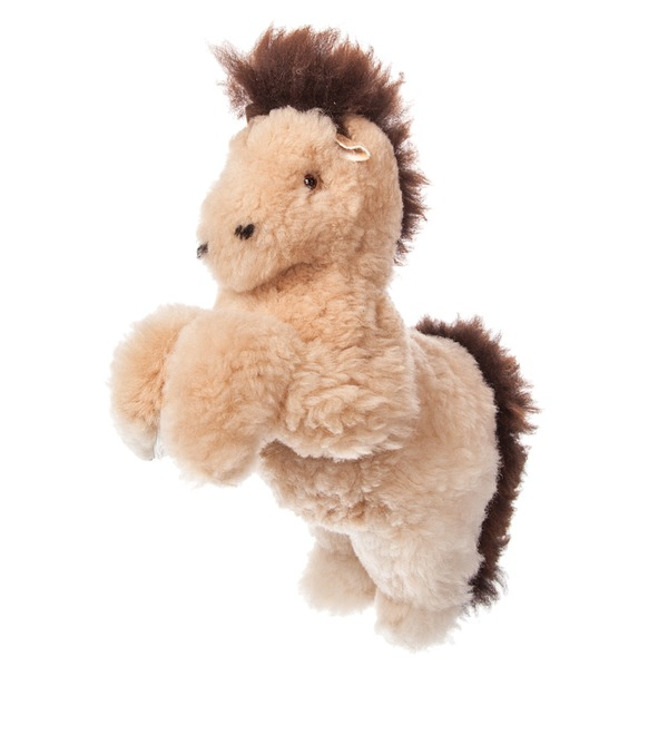 Toy from natural fur Horse (cream) – photo #3