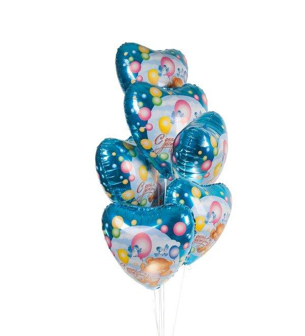 Букет шаров С Днём Рождения! (Мишка с шариками) (7 или 15 шаров) – фото № 1