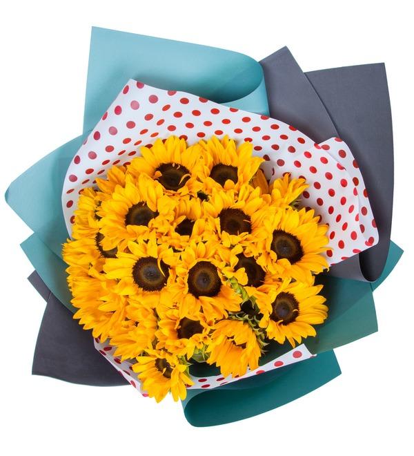 Букет Солнечный привет (19, 27 или 35 подсолнухов) – фото № 3