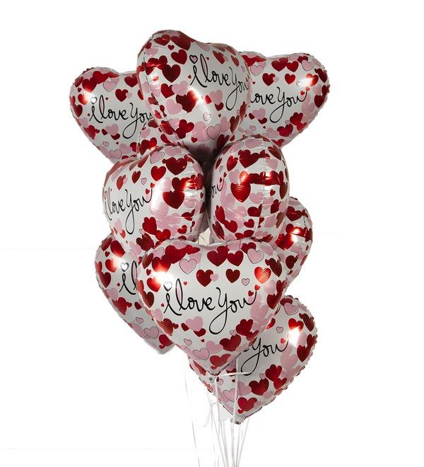 Букет шаров Люблю тебя! (Сердечки) (7 или 15 шаров) – фото № 1