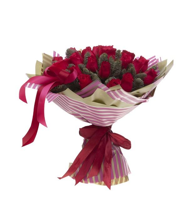 Букет-соло роз Вишневый аромат (15,25,35,51,75 или 101) – фото № 4
