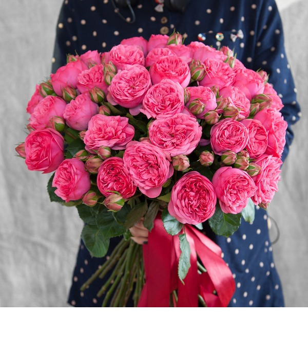 Bouquet of pion-shaped roses Pink Piano (15, 25 or 51) – photo #1