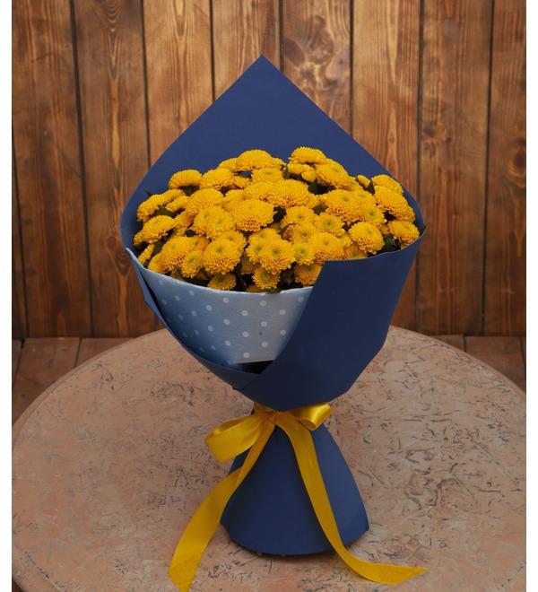 Букет-соло жёлтых хризантем (15,25,35,51,75 или 101) – фото № 1