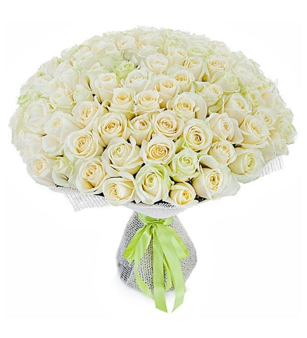 Букет из 101 белой розы Счастье – фото № 5