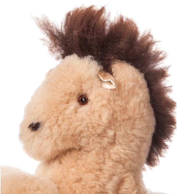 Toy from natural fur Horse (cream) – photo #2