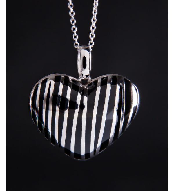 Колье из серебра с каучуком Сердце – фото № 1