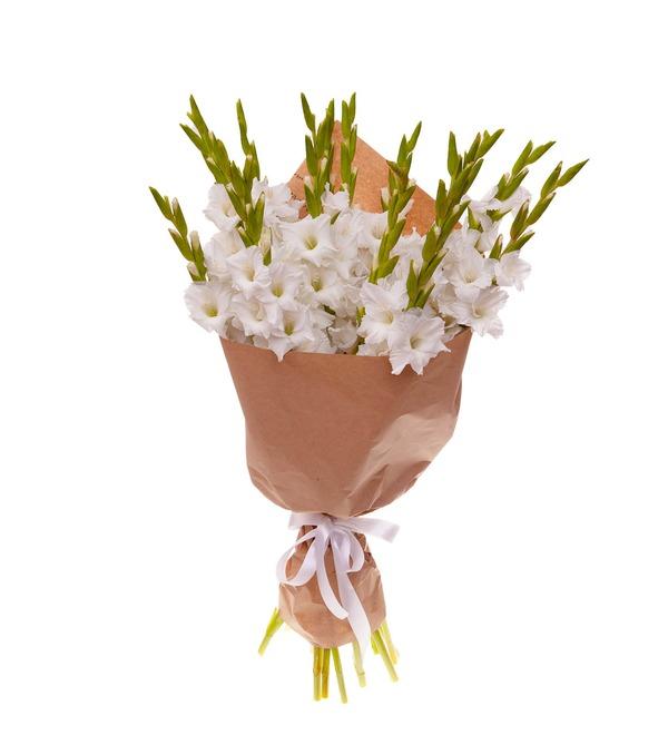 Букет-соло белых гладиолусов (5,7,9,15,25 или 35) – фото № 5