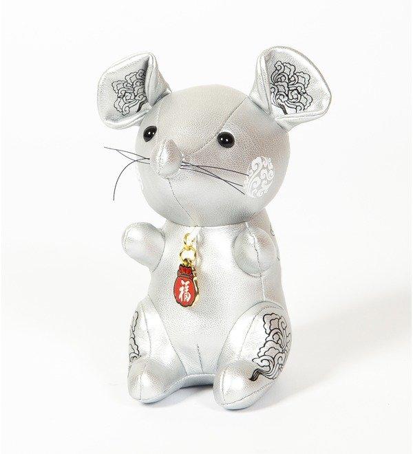 Игрушка из эко-кожи Мышка (Серебряная) – фото № 1