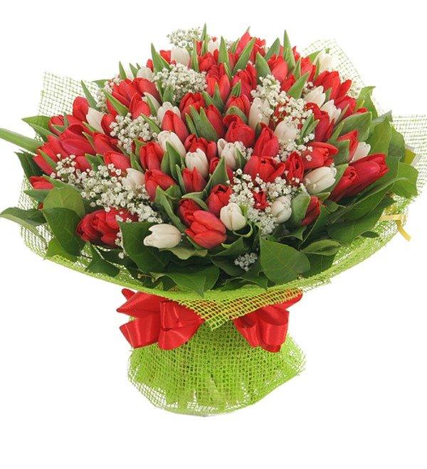 Букет из 151 тюльпана Горячее танго – фото № 1