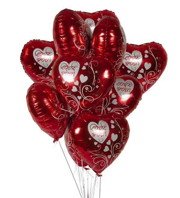 Букет шаров Люблю тебя! (7 или 15 шаров) – фото № 1
