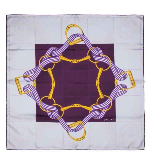 Шелковый платок GUCCI (Италия, 90х90 см) – фото № 1