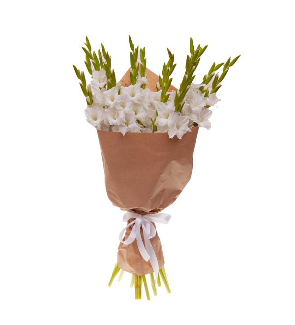 Букет-соло белых гладиолусов (5,7,9,15,25 или 35) – фото № 4