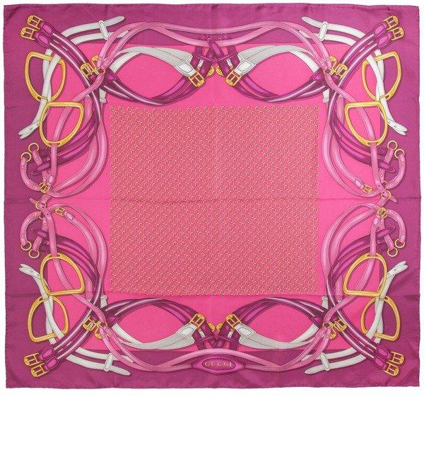 Шелковый платок GUCCI Милые радости (Италия, 90х90 см) – фото № 1