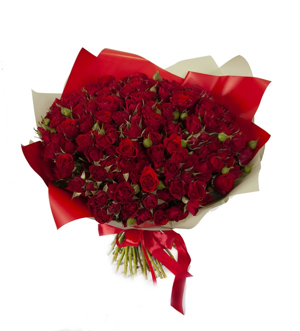 Букет-соло Красные кустовые розы (15,25,35,51,75 или 101) – фото № 5
