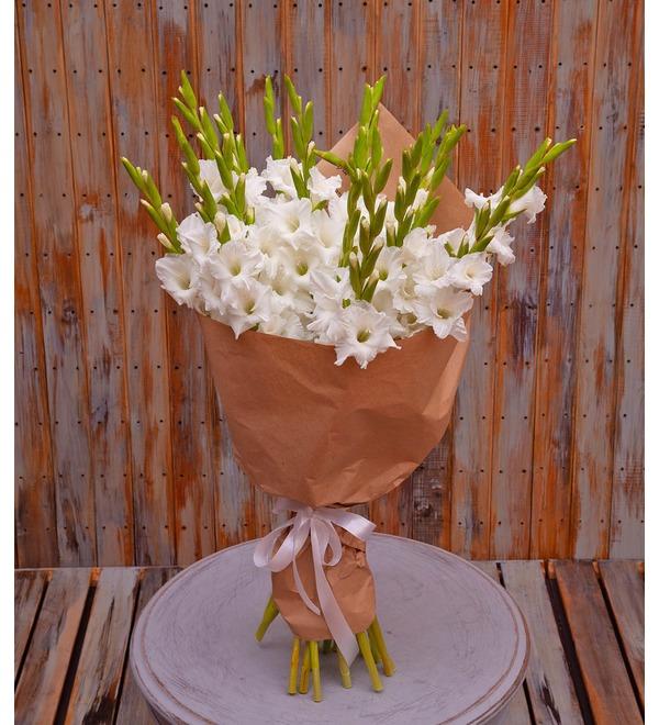 Букет-соло белых гладиолусов (5,7,9,15,25 или 35) – фото № 1