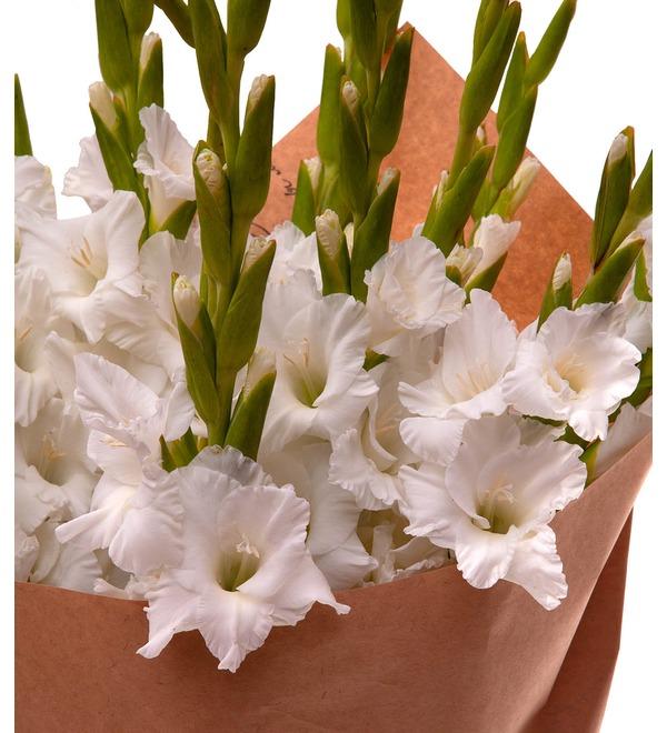 Букет-соло белых гладиолусов (5,7,9,15,25 или 35) – фото № 2