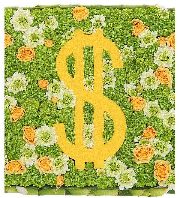 Цветочная композиция Счастливый доллар – фото № 1