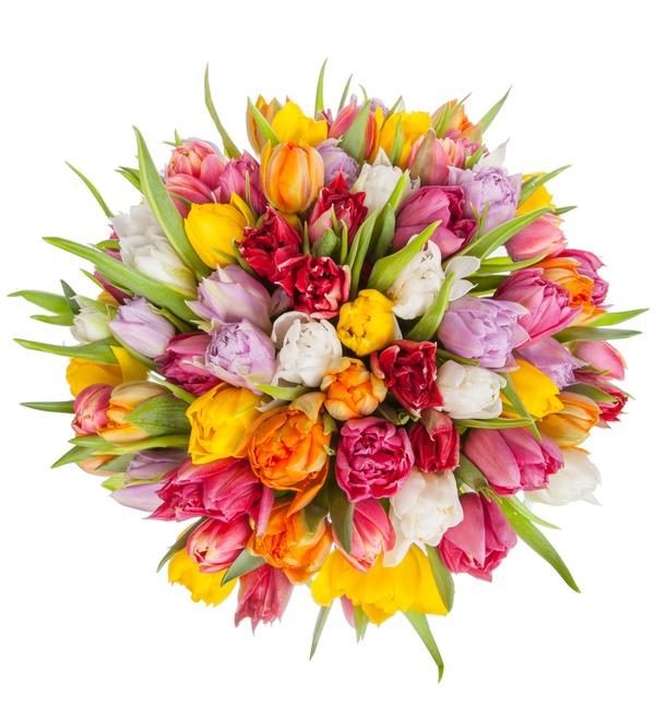 Букет из разноцветных пионовидных тюльпанов (25, 51 или 101) – фото № 3