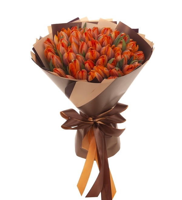 Букет-соло Тюльпаны Orange Princess (35,51,75,101 или 151) – фото № 5