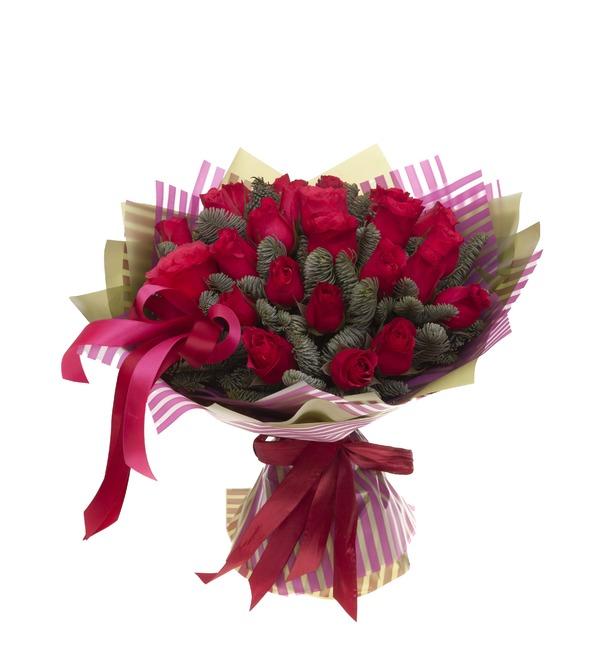 Букет-соло роз Вишневый аромат (15,25,35,51,75 или 101) – фото № 5