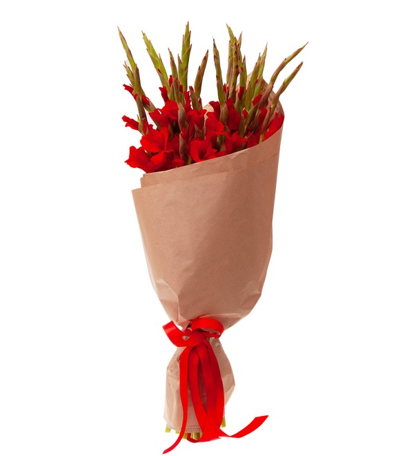 Bouquet-solo of red gladioli (5,7,9,15,25 or 35) – photo #4