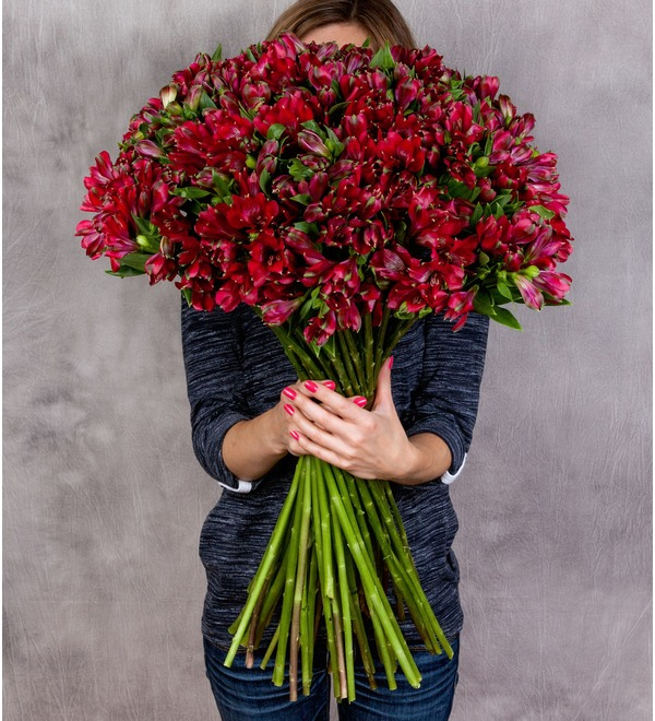 Bouquet Ruby (25, 51 or 101 alstroemeria) – photo #1