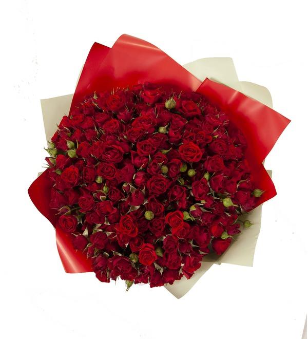 Букет-соло Красные кустовые розы (15,25,35,51,75 или 101) – фото № 3