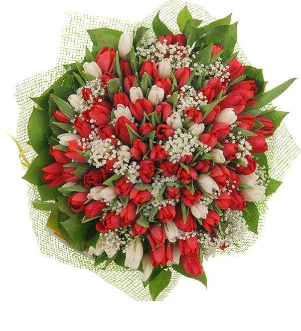 Букет из 151 тюльпана Горячее танго – фото № 2