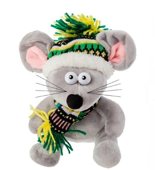 Мягкая игрушка Мышь в зимней шапочке – фото № 1