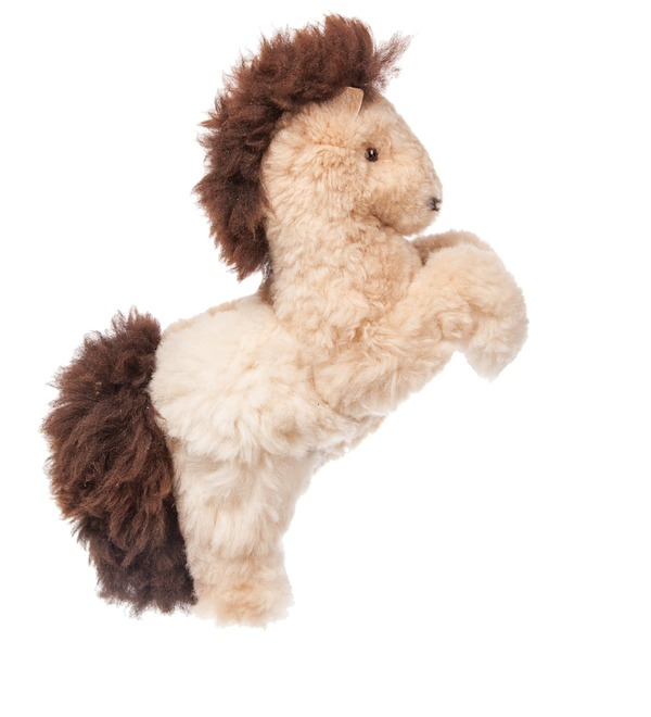 Toy from natural fur Horse (cream) – photo #4