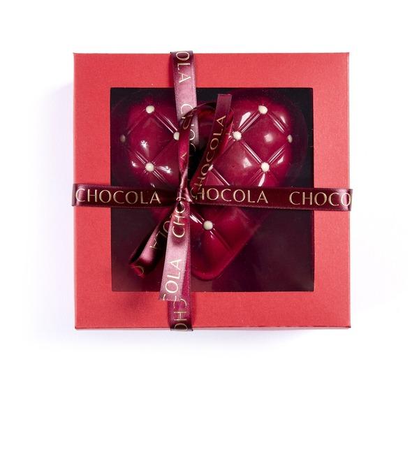 Сердце из бельгийского шоколада с шоколадным драже внутри – фото № 2