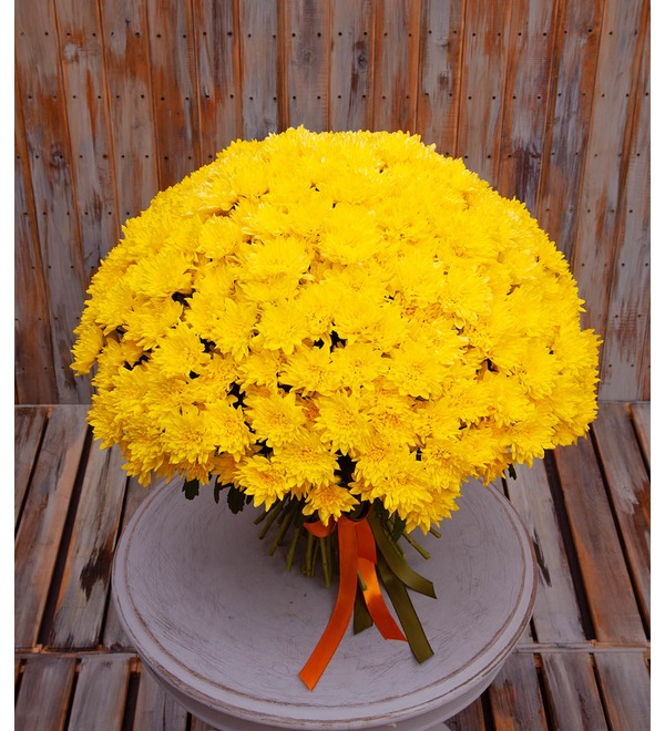 Букет-соло жёлтых хризантем (15,25,51,75 или 101) – фото № 1