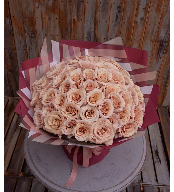 Bouquet-solo of Peony Rose Quicksand (15,25,35,51 or 75) – photo #1