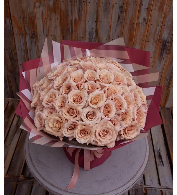 Букет-соло пионовидных роз Quicksand (9,15,25,35,51 или 75) – фото № 1
