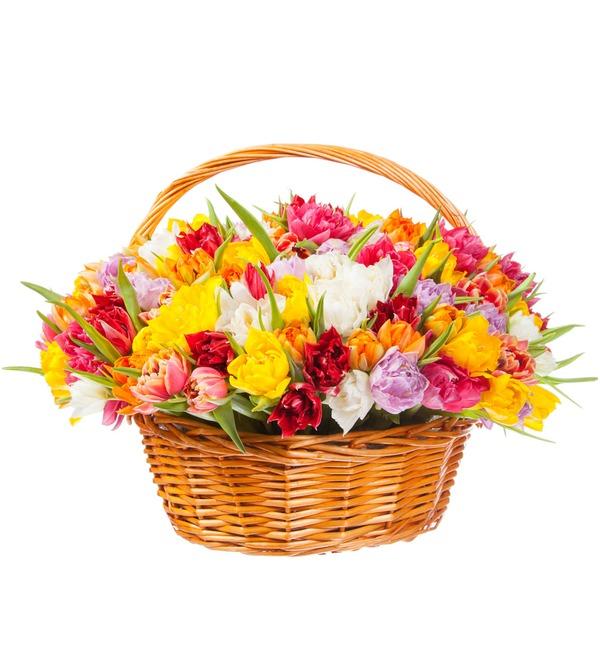 Композиция из разноцветных пионовидных тюльпанов (25, 51 или 101) – фото № 3