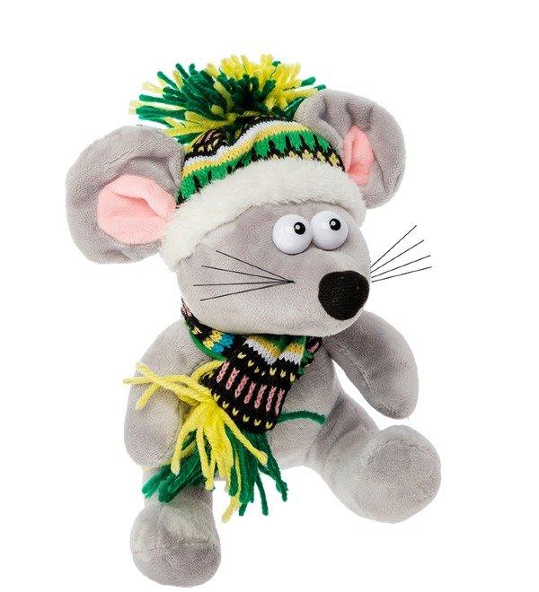 Мягкая игрушка Мышь в зимней шапочке – фото № 3