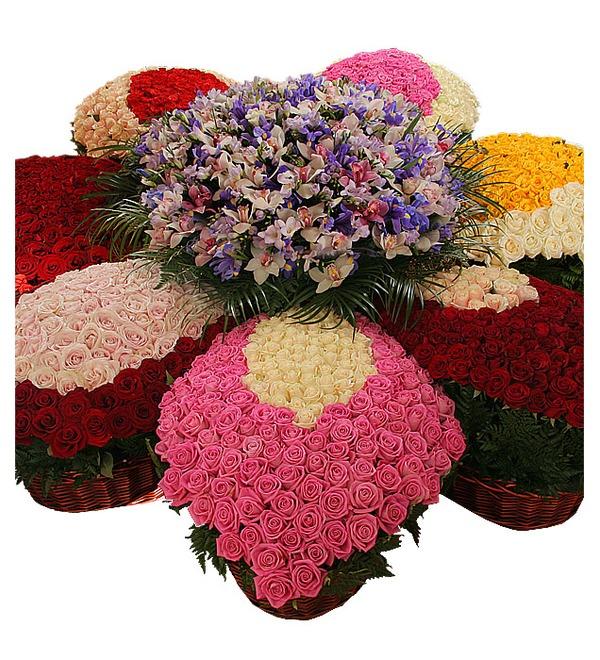 Композиция из роз и орхидей Цветок желаний – фото № 2