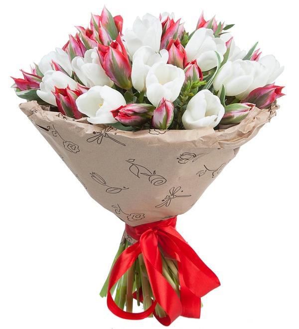 Букет из 51 тюльпана Классика цвета – фото № 2